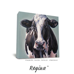 "Valerie Miller -- Steel Cow: Canvas Plaque- ""Regina"""