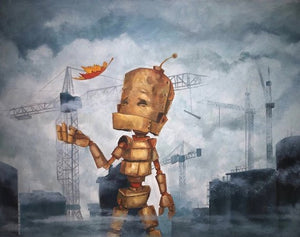 "Lauren Briere - Robots In Rowboats: ""City Fall Bot"" Print"