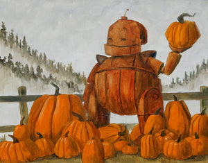 "Lauren Briere - Robots In Rowboats: ""Pumpkin Bumpkin Bot"" Print"