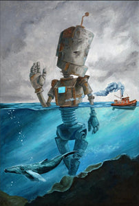 "Lauren Briere - Robots In Rowboats: ""Tug Bot"" Print"