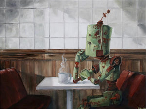 "Lauren Briere - Robots In Rowboats: ""Waiting Bot"" Print"