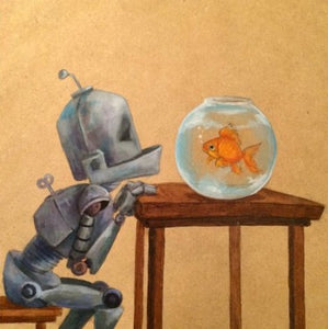 "Lauren Briere - Robots In Rowboats: ""Fishbowl Bot"" Print"