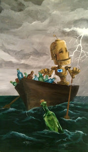 "Lauren Briere - Robots In Rowboats: ""Message In A Bottle Bot"" Print"
