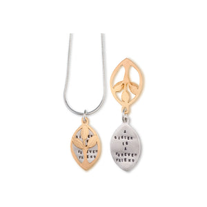 Kathy Bransfield: Pendant with Chain- Sisters (Gold)