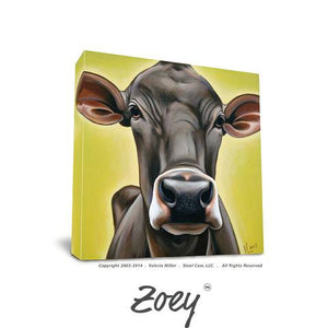 "Valerie Miller -- Steel Cow: Canvas Plaque- ""Zoey"""