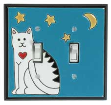 All Fired Up! Ltd. : Folk Art Cat Switch Plate Covers