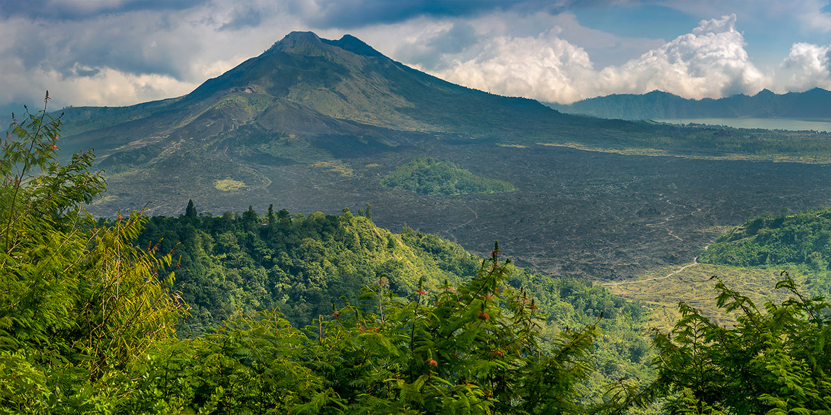 Volcanic mountain range landscape from Indonesia.