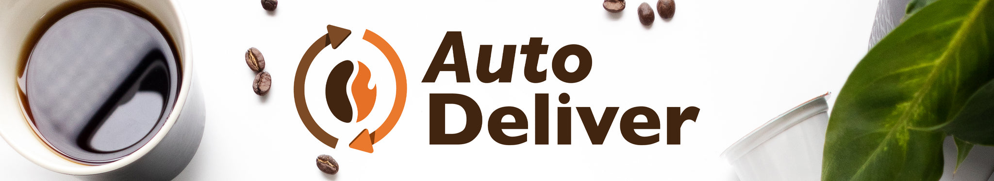 Auto Deliver logo on a white background with a cup of coffee, coffee beans, and a plant.