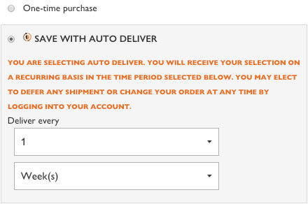 Auto Deliver Coffee Subscription Selection