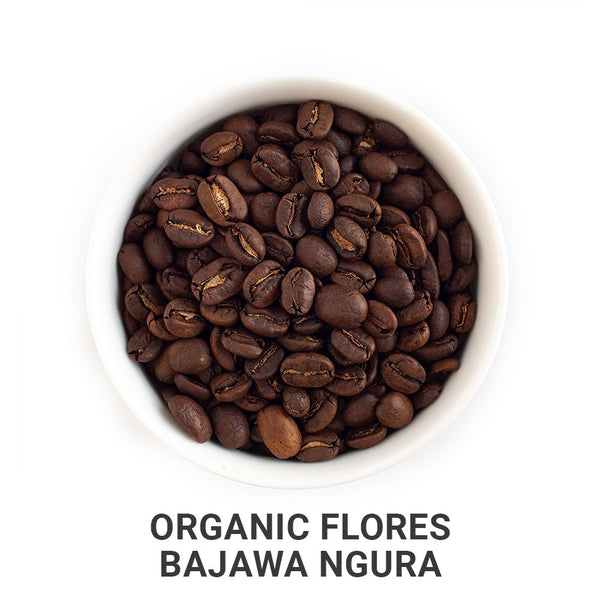 Organic Flores coffee beans.