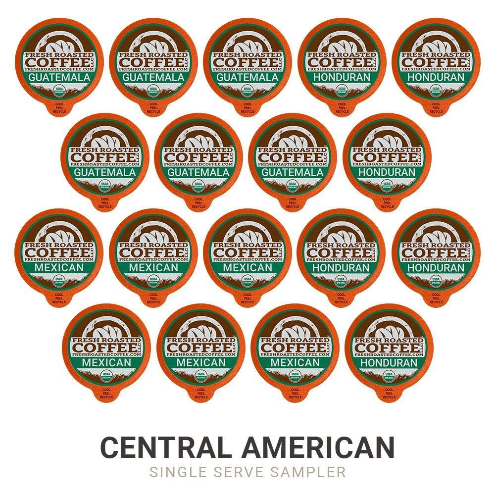 18 single serve coffee pods in the Organic Central American sampler, 6 each of Guatemala, Honduran, and Mexican.