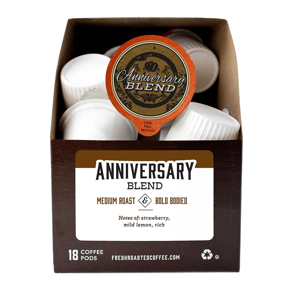 A box of Fresh Roasted Coffee's Anniversary Blend single-serve coffee pods.