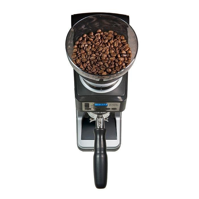 Overhead view of Baratza Sette 270 Coffee grinder with beans in the clear funnel on top.