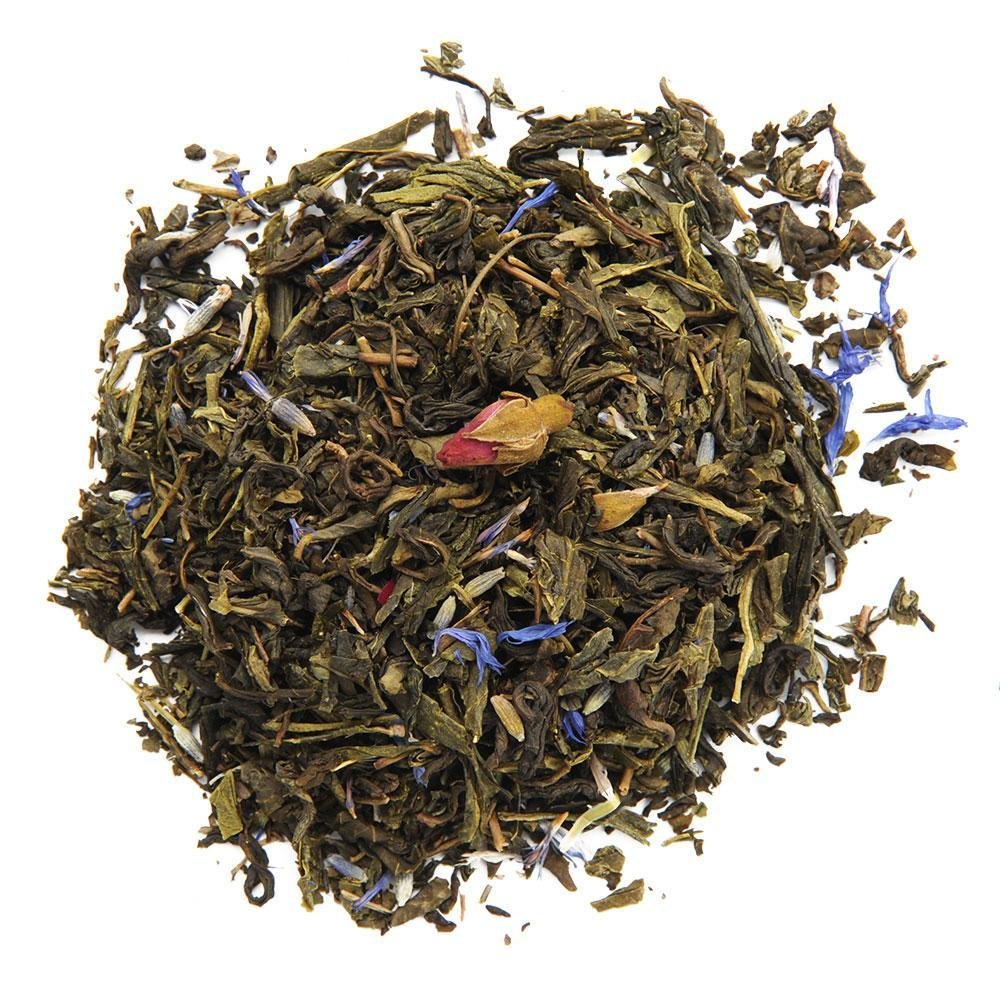 A pile of Organic Secret Garden Green Tea.
