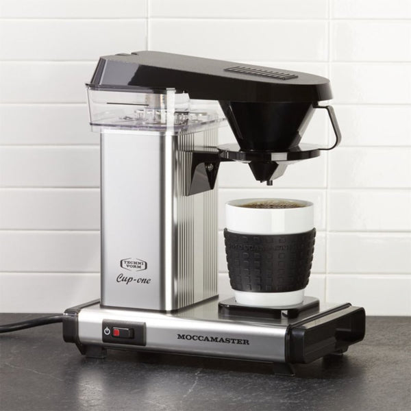 Polished silver Technivorm Moccamaster One Cup Single Server Brewer.
