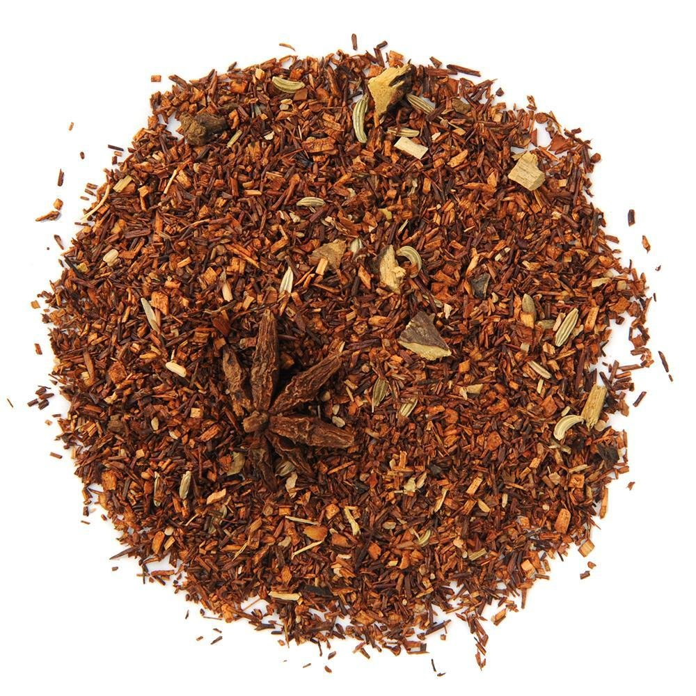 A pile of Organic Root Beer Rooibos Tea.