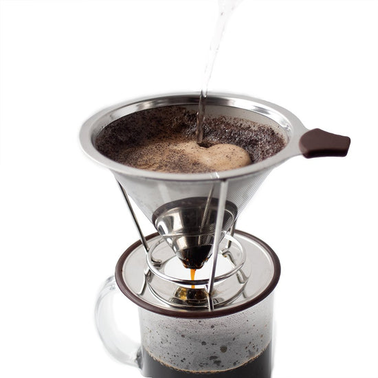 Stainless steel filter and pour over dripper