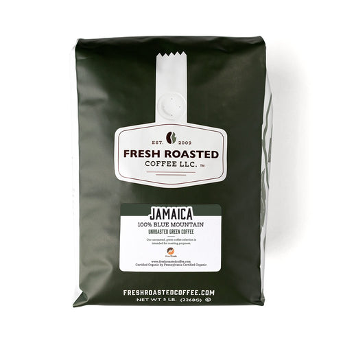 Green bag of unroasted Jamaica Blue Mountain coffee.