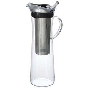 Hario Cold Brew Coffee Pitcher, clear glass with handle, stainless steel filter placed inside.