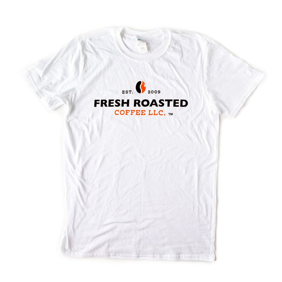 White t shirt with fresh roasted coffee llc logo centered on the front.