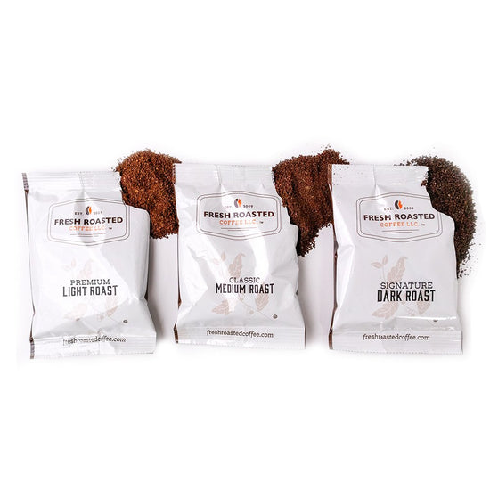 Three fractional packs, FRC Light, FRC Medium, and FRC Dark, each with coffee grounds spilling out.