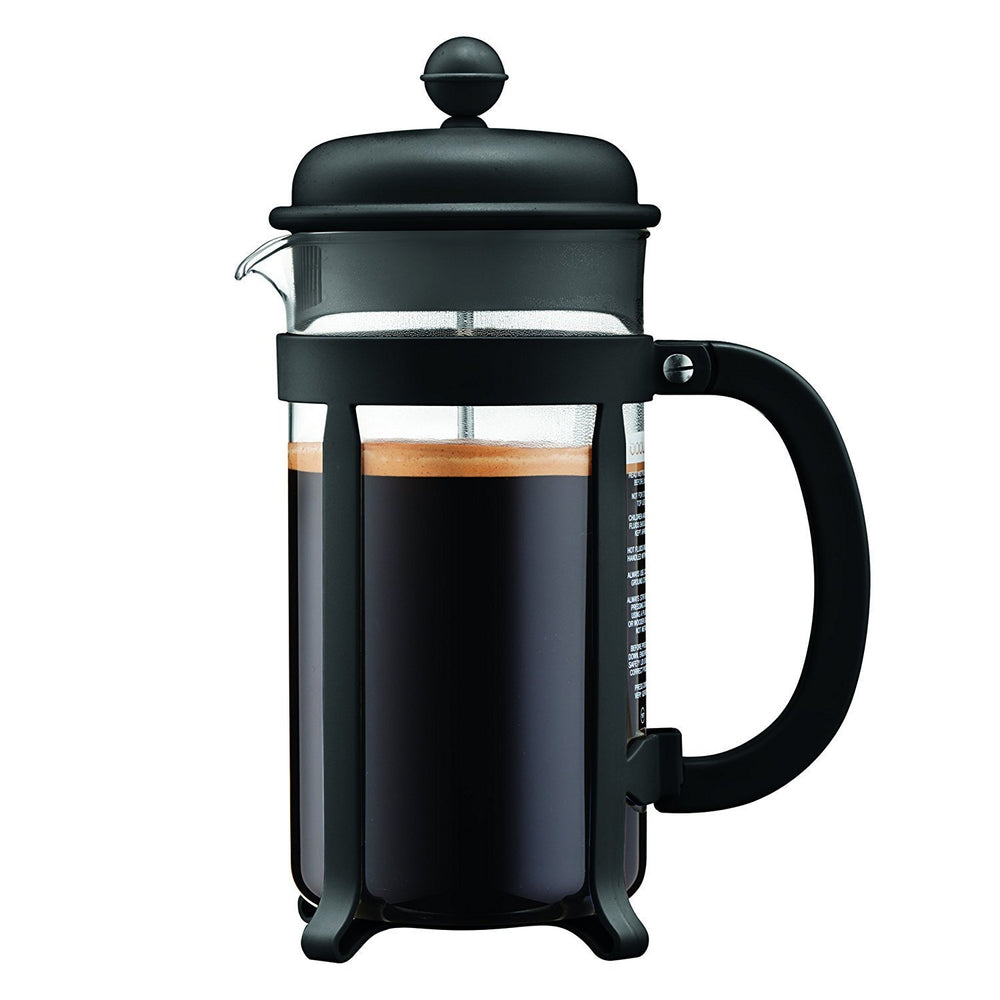 Bodum Java 8 Cup French Press coffee maker filled with coffee.