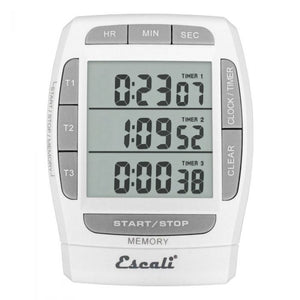 Escali Triple Event Digital Timer displaying three separate timers on screen with controls around the edges of the screen.
