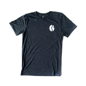 Dark gray t shirt, white colored Fresh Roasted Coffee bean logo on upper left.