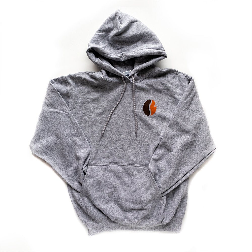 Gray hoodie with front pocket, small orange and brown Fresh Roasted Coffee bean logo on the upper left.