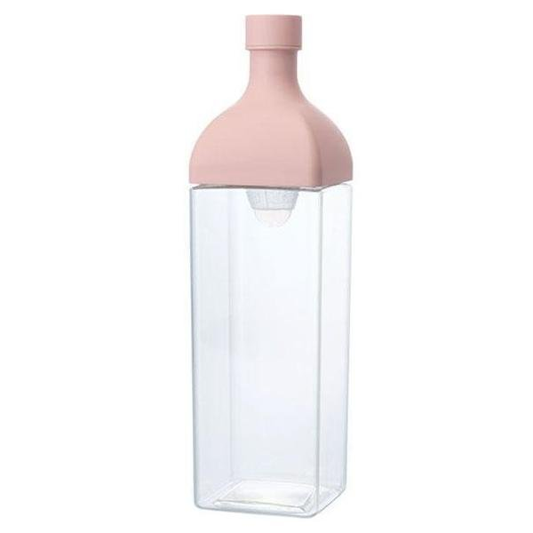 Clear Plastic Hario Ka Ku Cold Brew Tea bottle with pink removeable top.