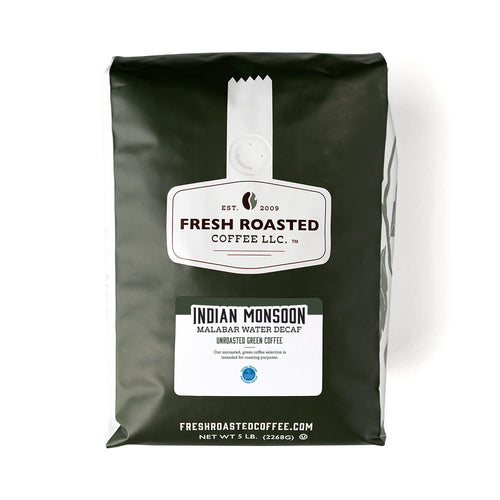 Green bag of unroasted Water Process Decaf Indian Monsoon Malabar coffee.