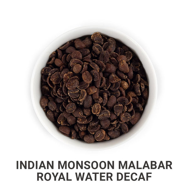 Indian Monsoon Malabar Royal Water Decaf green unroasted coffee beans.