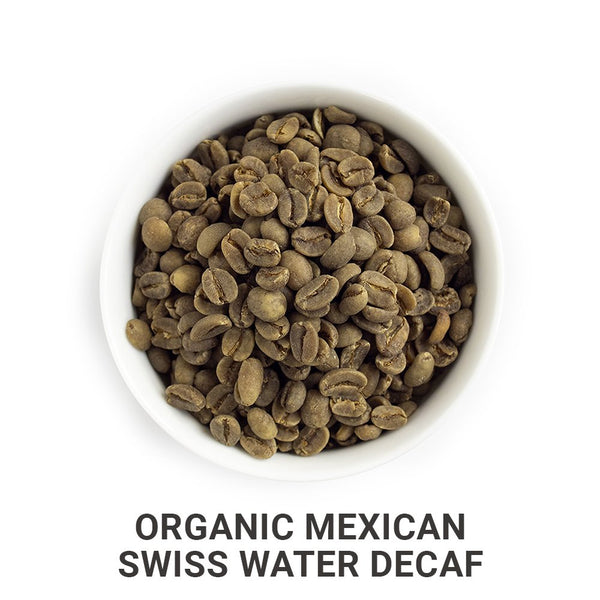 Organic Mexican Swiss Water Decaf green unroasted coffee beans.