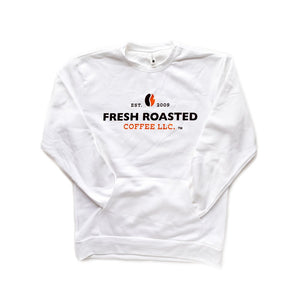 White sweatshirt with front pocket, Fresh Roasted Coffee LLC logo centered on the front.