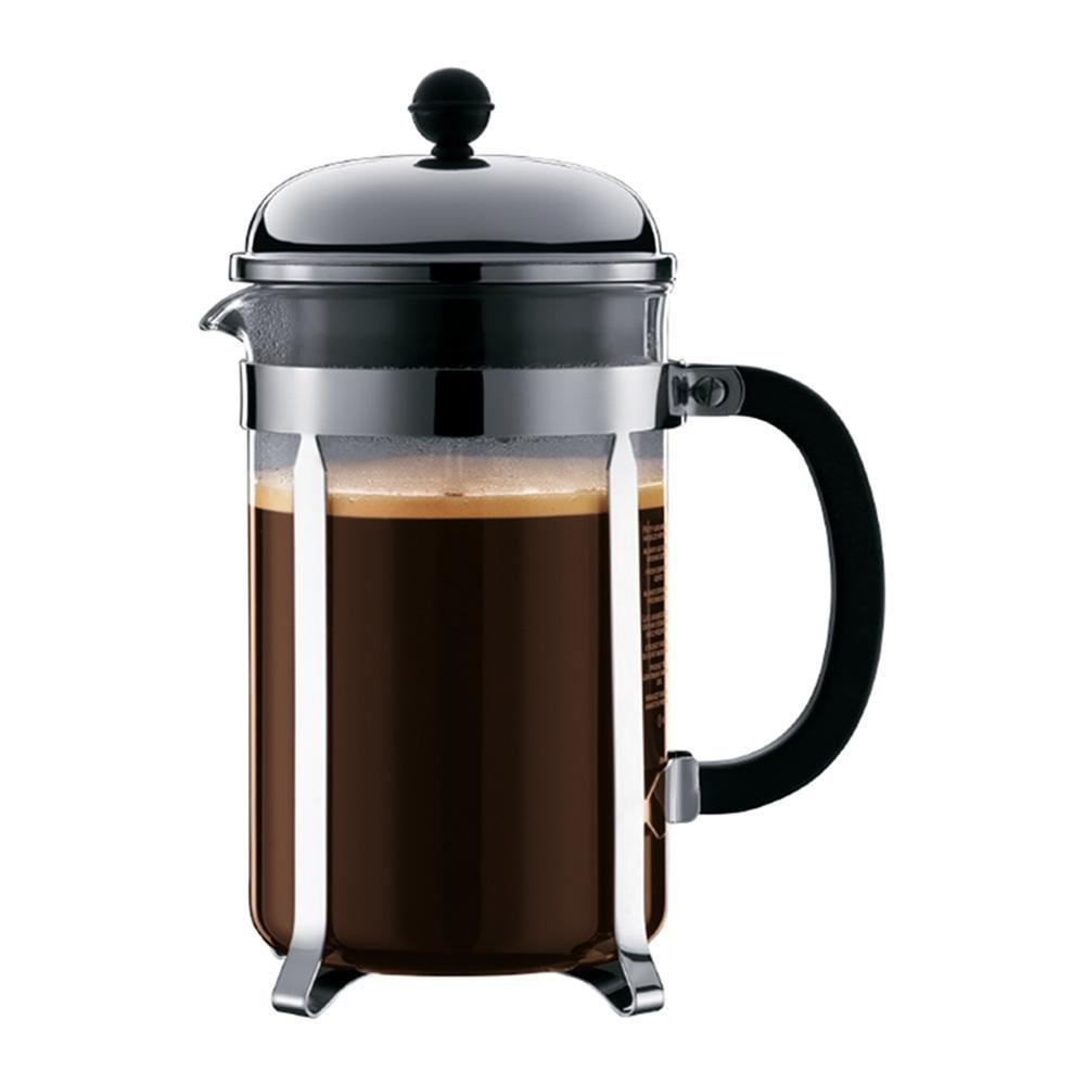 Bodum Chambord 12 cup french press coffee maker filled with coffee.