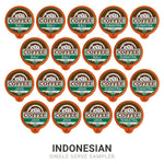 18 pods in the Organic Indonesian Coffee Pod Sampler, 6 each of Bali, Java, and Sumatra.