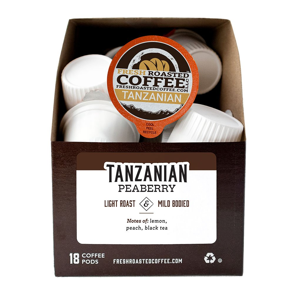 A box of Tanzanian Peaberry single serve coffee pods.