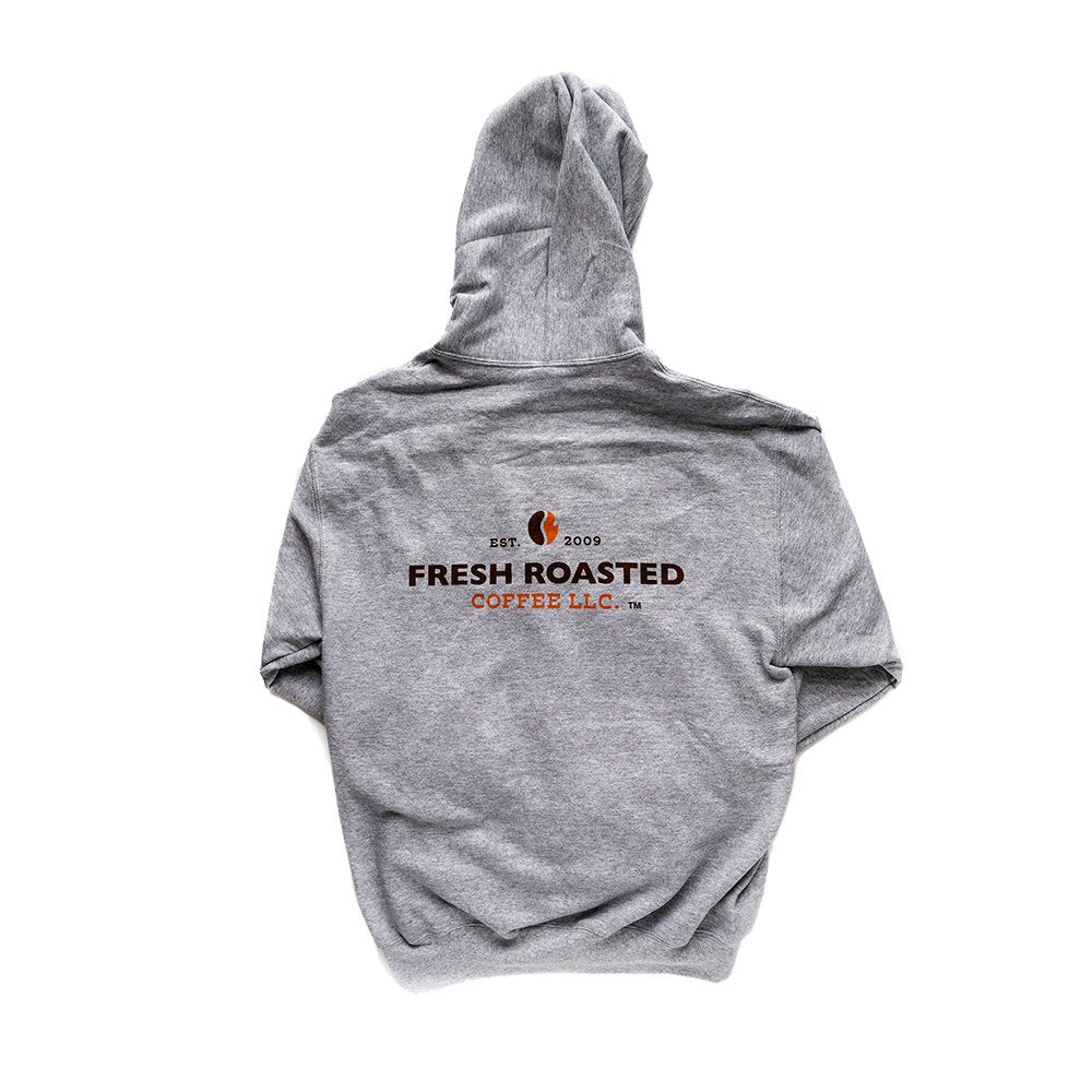 Back view of gray hoodie, Fresh Roasted Coffee LLC logo printed in the center.