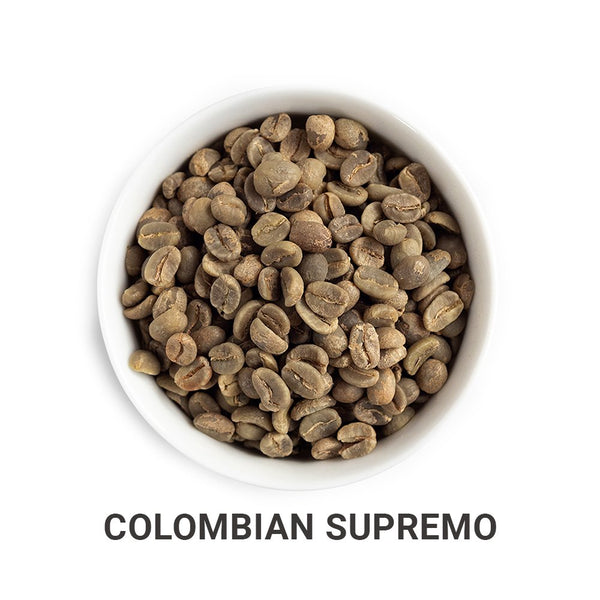 Colombian Supremo green unroasted coffee beans.