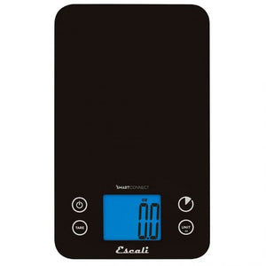 Overhead view of a black Escali SmartConnect Digital Kitchen Scale.