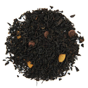 Pile of Organic Choco Coco Joy Black Tea.