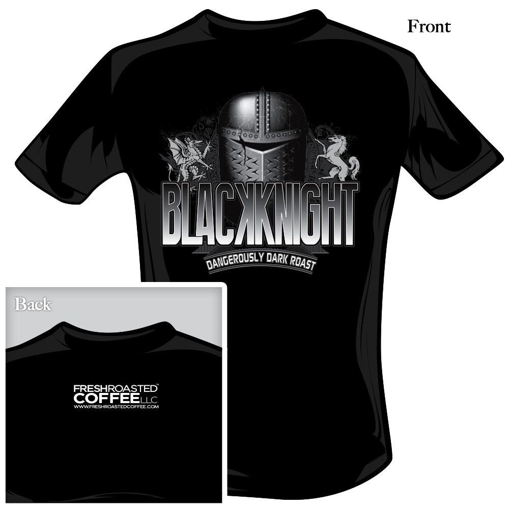 Front and back views of a black t shirt, printed with art for Black Knight coffee blend.