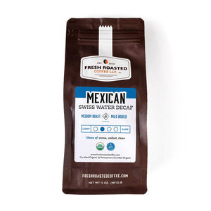 A bag of Organic Swiss Water Decaf Mexican coffee.