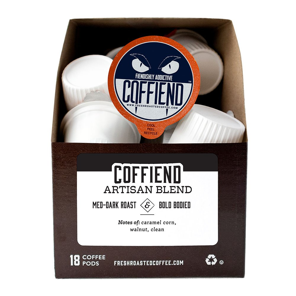 Box of Coffiend blend single serve coffee pods.
