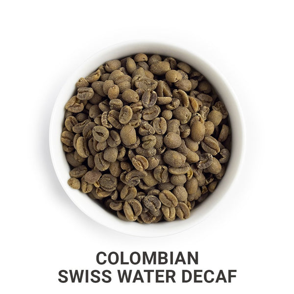 Colombian Swiss Water Decaf green unroasted coffee beans.
