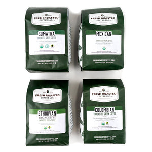 Green Unroasted Organic Coffee Explorer Starter Kit, Organic Sumatra, Organic Mexican, Organic Ethiopian Yirgacheffe, and Organic Colombian.
