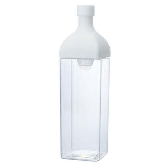 Clear Plastic Hario Ka Ku Cold Brew Tea bottle with white removeable top.