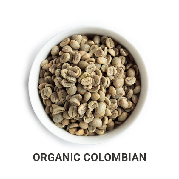 Organic Colombian green unroasted coffee beans.