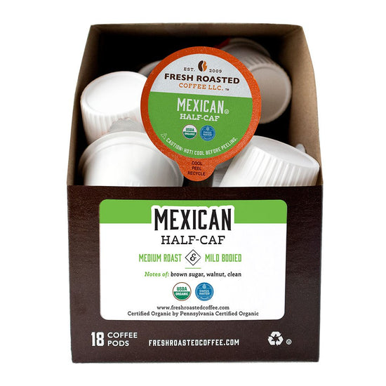 A box of Organic Swiss Water Half Caf Mexican single serve coffee pods.