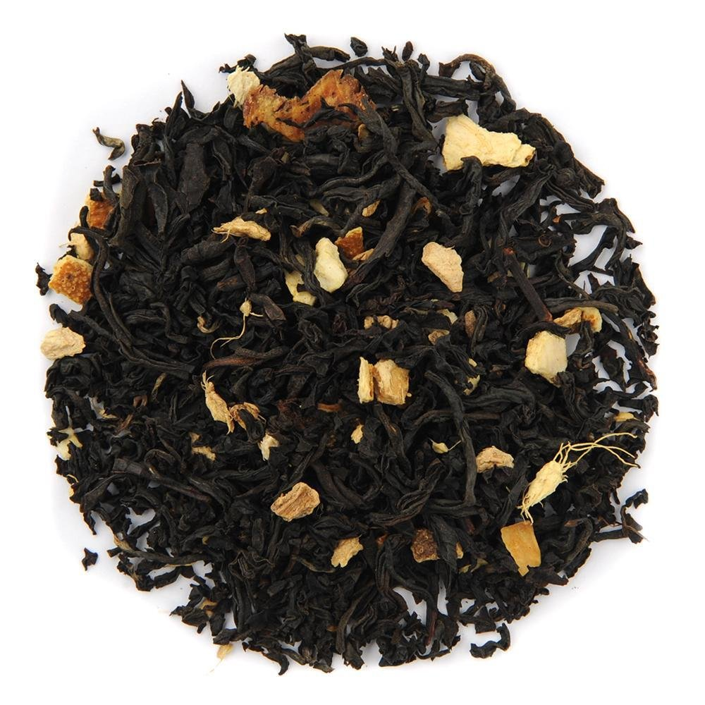 A pile of Organic Ginger Orange Peach Black Tea.